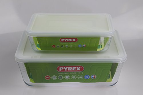 Pyrex, Set of 2 Pyrex Dishes with Plastic lids Roaster/Storage Free UK Postage. Sizes - 22cm/1.5L & 27cm/4.0L