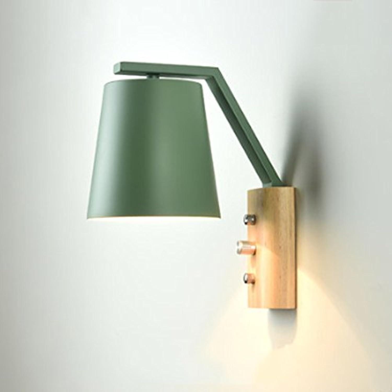 Hlzerne Wandlampe der nordischen Wandlampe hlzerne moderne minimalistische kreative Wohnzimmerschlafzimmer-Nachttischlampengang-Massivholzwand beleuchtet