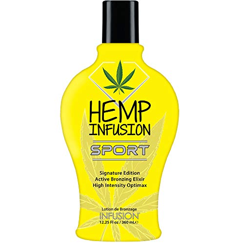 Hemp Infusion Sport Tanning Bed Lotion, Indoor tanning lotion sun tanning lotion. Best dark bronzer tanning lotion. DHA Bronzer, No Tingle, No Staining or Streaking. Natural browning lotion