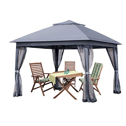 PAMAPIC 11x11 Outdoor Gazebo for Patios Canopy, for Sun and rain skylights, with Mosquito nets, Waterproof Soft Metal roof Pavilion, for lawns, Gardens, backyards and Decks (Grey)