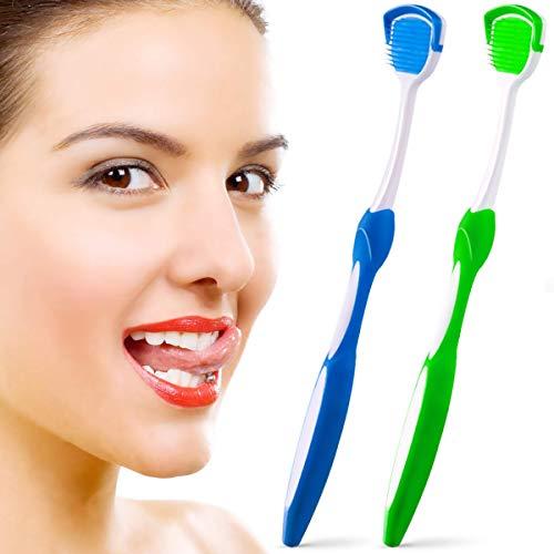 Raspador de lengua, limpiador de lengua, cepillos de lengua ayuda a combatir el mal aliento, 2 raspadores de lengua (verde y azul)