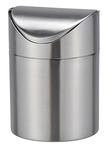 Bambelaa! Tischmülleimer Tischabfalleimer Abfallbehälter Küchenabfalleimer Edelstahl Schwingdeckel 12cm Durchmesser ca.16,5 cm hoch (Edelstahl, 1 Stück)