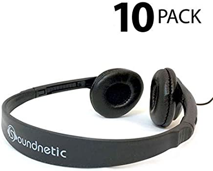60dc9802709 Soundnetic 10 Pack Classroom Stereo Budget Headphones with Leatherette  Earpads Volume Control