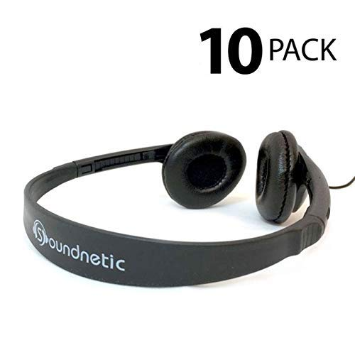 Soundnetic CCV 10 Pack Classroom Stereo Budget Headphones with Leatherette Earpads Volume Control