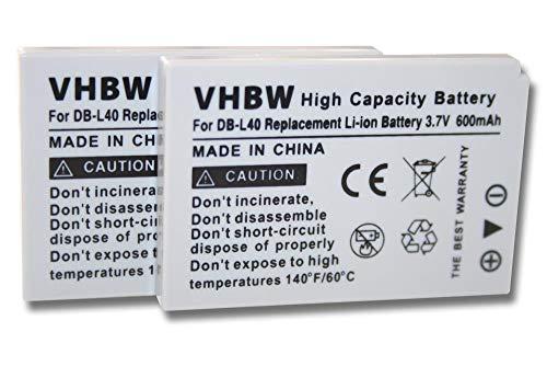 vhbw 2X Batería Recargable Compatible con Sanyo Xacti VPC-HD2, VPC-HD700, VPC-HD700EX cámara de vídeo, videocámara (600 mAh, 3,7 V, Li-Ion)