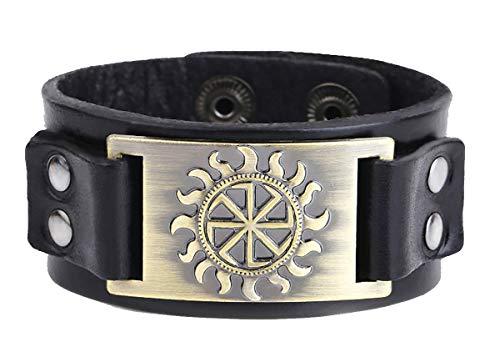 Vintage Punk Slavic Wheel Nordic Bracelet en cuir avec fermoir caché et fermoir de sécurité (or vieilli, noir)