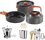 XHLLX Camping Cocketware Set Exterior Camping Teatible Vatible Hecho De Aluminio Y Aloyo Pot Pot sobre Cocción Cocina Cocina Picnic