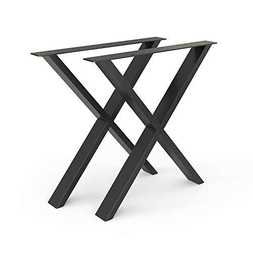 Vicco Loft Tischkufen Tischbeine DIY Tischgestell Couchtisch Esstisch Möbelfüße (X-Form - 72 cm)