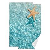 Starfish Beach Hand Towels for Bathroom 2 Pack Summer Tropical Ocean Fingertip Towels Kitchen Decorative