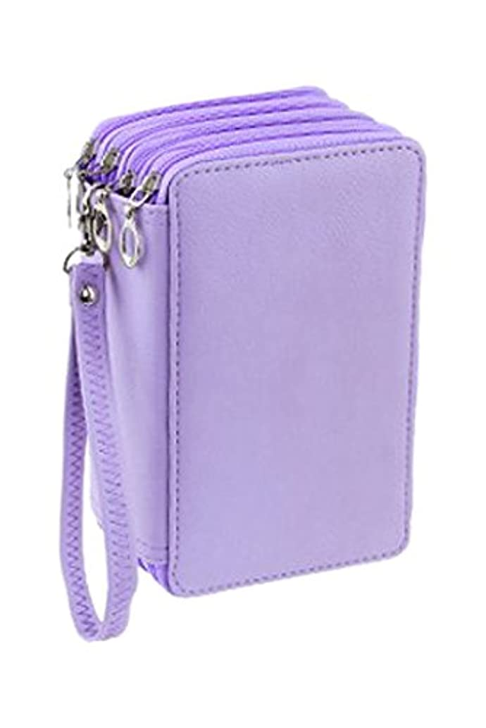 WeiBonD 72 Slots Colored Pencil Case - PU Leather Handy Multi-Layer Large Zipper Pen Bag with Handle Strap for Colored/Watercolor Pencils, Gel Pen, Makeup Brush, Small Marker and Sharpener (Purple)