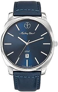 Mathey Tissot Smart Men's Blue Dial Leather Band Watch - H6940Abu, Analog Display, Quartz Movement