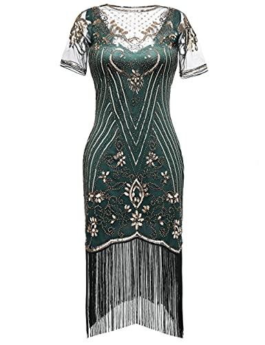 Coucoland 1920s Kleid Damen Kurz Fransen Ärmel Rund Ausschnitt Flapper Kleid 20er Jahre Paillettenkleider Great Gatsby Cocktail Party Damen...