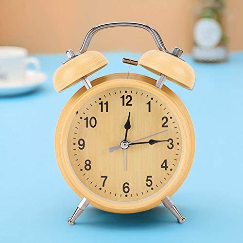 banapoy Despertadores de Campana Doble, Despertador de Cuerda, Silencio con luz Nocturna Oficina para Despertar en casa al Lado del Escritorio