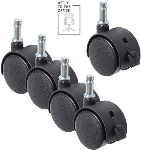 SHOP YJX 4/5pcs Furniture Casters, 1In/1.5In/2In Brake Swivel Castor Wheel With A Insert Rod, Office Chairs Replacement Nylon Castor Wheels Casters (Color : B, Size : 1.5in)