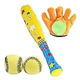 Yunt-11 4PCS Jouets de Jeu de Batte de Baseball en Mousse pour Enfants, Comprend Bat , 2 Ball , Glove, Indoor Soft Safe Baseball Set for Boys Girls, améliore Les habiletés de frappeur