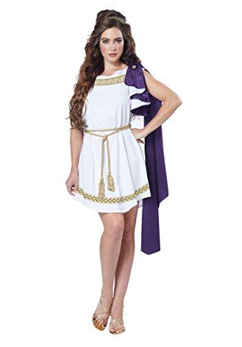 Grecian White & Purple Toga Dress Adult Costume