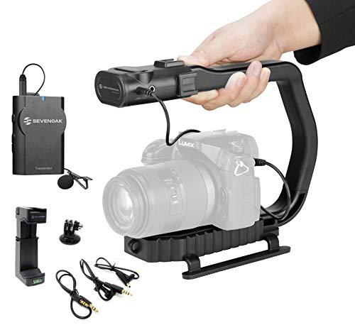 Movo MicRig-W1 - Kit de cineasta de micrófono inalámbrico para cámara de vídeo con micrófono Lavalier inalámbrico Compatible con DSLR, cámaras sin Espejo, iPhone, Smartphones Android