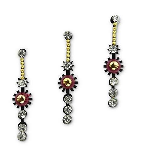Crystal Silver Bindis Multipack/Festival Face Gems/Bollywood Costume Long Bindi stickers/Rhinestone Makeup Jewels/Diamante Body Art Jewellery/Indian Tikka Forehead Glitter Tattoo D18