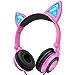 LOBKIN Kids Headphones Over Ear, Light Up Wired Adjustable Headphones On Ear, Cat Ear Headset, 3.5mm Aux Jack, Led Glowing Headphones for Kids Girls Boy School Supplies, Baby Cosplay Fans Toddlers (Renewed)