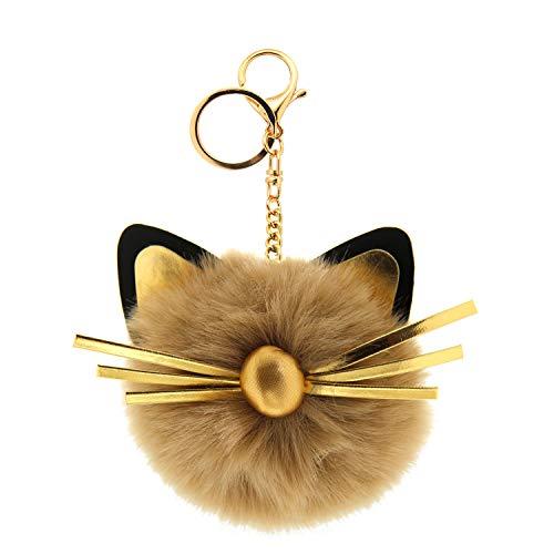 Sweet Deluxe Schlüsselanhänger Cat Head, Gold/Khaki/schwarz I Cooler Schlüsselhalter für Damen & Mädchen I Geschenk-Idee für Frauen & BFF Freundin I individueller Schlüsselring