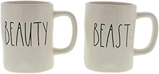 Rae Dunn by Magenta BEAUTY and BEAST in large letters 2 mug set in Box Coffee Tea