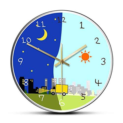 壁掛け時計 掛け時計 ウォールクロック 連続秒針 北欧 おしゃれ 時計 漫画の昼と夜アクリルプリントタイム...