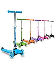 3StyleScooters® RGS-1 Little Kids Three Wheel Kick Scooter - Perfect For Children Aged 3+ And Featuring LED Light-Up Wheels, Foldable Design, Adjustable Handles, Lightweight Construction