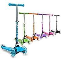 3StyleScooters® RGS-1 Patinete Scooter Tres Ruedas para Niños Pequeños Niños de 3 Años o Más con Luces LED en Las Ruedas, Diseño Plegable, Manillar Ajustable (Azul)