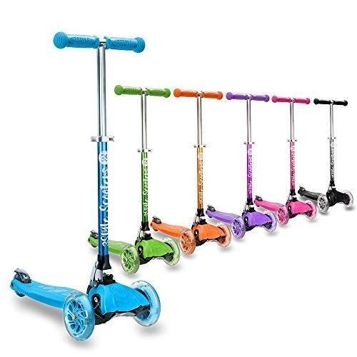 3StyleScooters® RGS-1 Petite Trottinette à Trois Roues pour Enfants - Idéal pour Les Enfants de Plus de 3 Ans, Dotée de Roues à Lumières LED, Modèle Pliable, Poignées Réglables (Bleu)