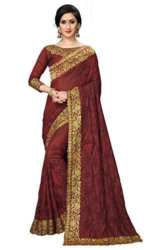 Sunshine Fashion Women's Kanchipuram Tussar Silk Saree(SUNS3243_Maroon)