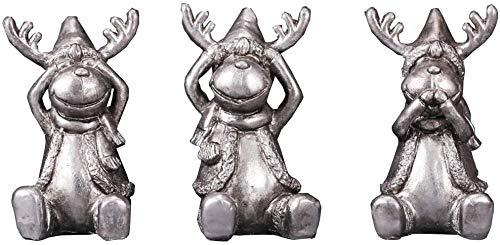 LULUDP-Decoración China Estatua de Colección 3 Wise Animal estatua de la figura, Ciegos, sordos y locos decir que no mal Resina Elk Sculptur, Navidad y Año Nuevo adornos de regalo, Conjunto, Color: Co