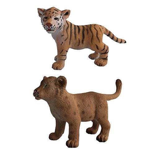 perfk 2X Mini Animaux Sauvages Chiffres Forêt Animal Lion Tigre Modèle Party Favors