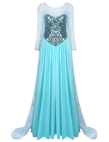 iiniim Damen Festlich Kleid Königin Prinzessin Kleid Langes Abendkleid Cosplay Fasching Karneval Verkleidung Party Kleid S-XXL Blau XL