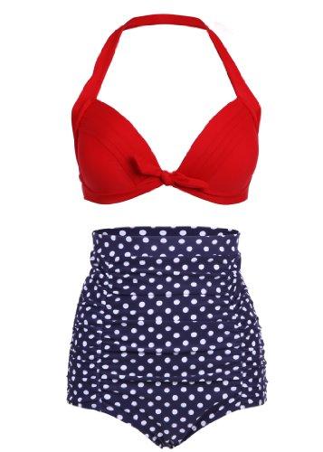 Pretty Attitude dunkelblauer Polka Dot Lunares Retro Pinup Vintage Bikini con Parte Superior Alta Cintura y roja...