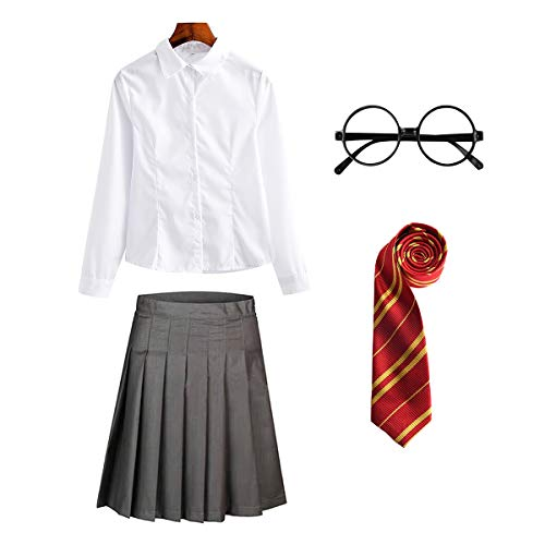 FStory&Winyee Zauberer Set Rock/Hose Bluse/Hemd Krawatte Brille Kostüm Zubehör für Kinder Erwachsene Zauberer Zubehör Set zum Fasching Karneval Halloween Striped Tie Krawatte