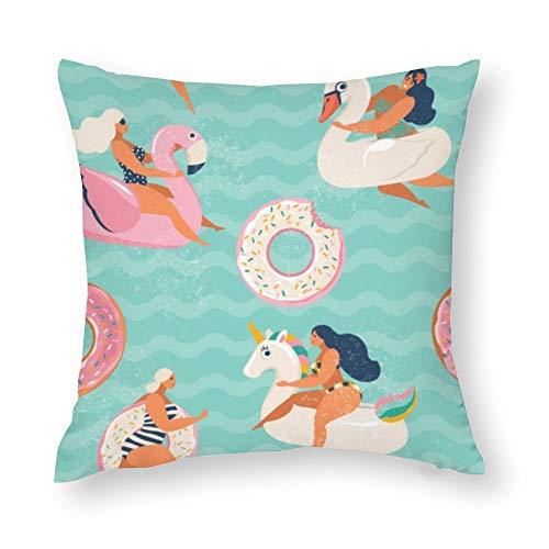 YY-one Fundas de almohada decorativas de flamenco, unicornio, cisne y donas dulces, funda de cojín de algodón para sofá, silla, cuadrado, 40,6 x 40,6 cm