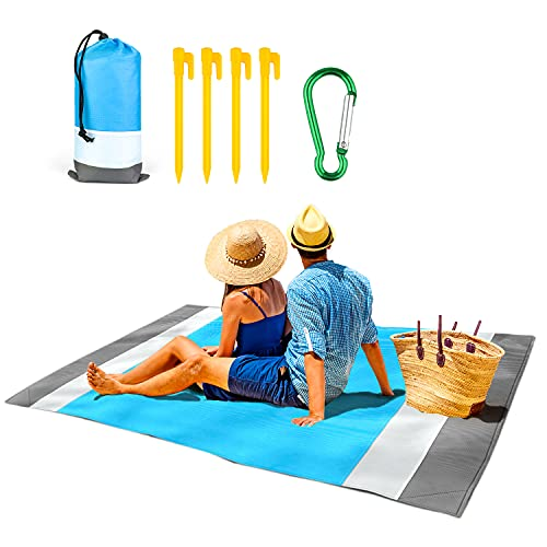 Alfombras de Playa 200x210cm, PTN Toalla Playa Grande, Manta Picnic Impermeable con 4 Estaca Fijo, Esterilla Playa Adecuado para Actividades Al Aire Libre como Playa, Césped, Camping, Etc.