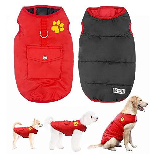 Didog Chaleco de invierno impermeable para perros, abrigos reversibles, abrigos para clima frío para perros pequeños, medianos y grandes, rojo, talla M