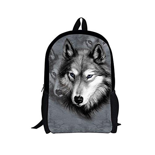 chaqlin Schulrucksack für Kinder Jungen Mädchen Schultasche Laptop Computer Tasche Student Büchertaschen Ranzen Gr. Einheitsgröße, Grauer Wolf