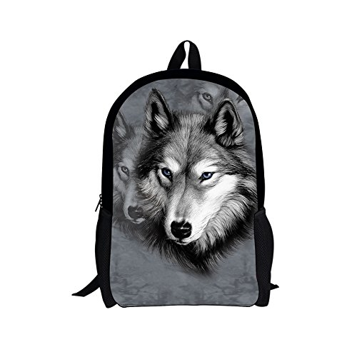 chaqlin Schulrucksack für Kinder Jungen Mädchen Schultasche Laptop Computer Tasche Student Büchertaschen Ranzen Gr. M, Grauer Wolf