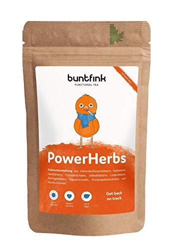 Buntfink 'PowerHerbs' Superfood-Tee mit Salbei + Ingwer + Goji + Moringa + Zitrone, 100% natürlicher Kräutertee aus Deutschland, 60g loser Tee