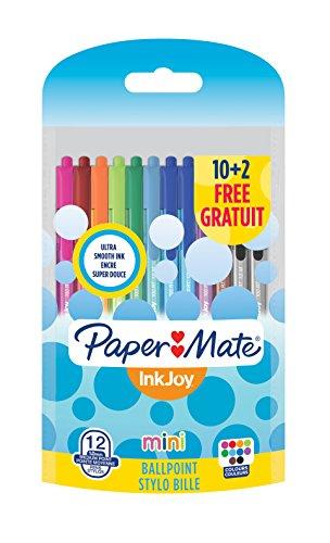 Paper Mate InkJoy Mini 100 RT Penna a sfera a scatto con punta media da 1,0 mm, colori vivaci assortiti, confezione da 10+2 (1956651)