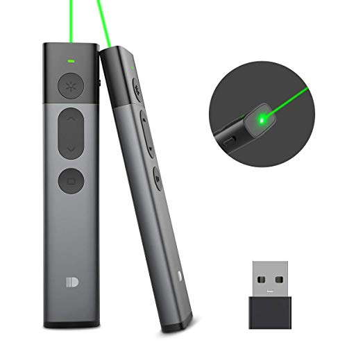 Doosl Presenter groene laserpointer, Powerpoint presentatie afstandsbediening, presentatieafstandsbediening presenter met laserpointer groene laserpointer voor PPT/Keynote/OpenOffice/Windows/Mac/Linux zwart-032