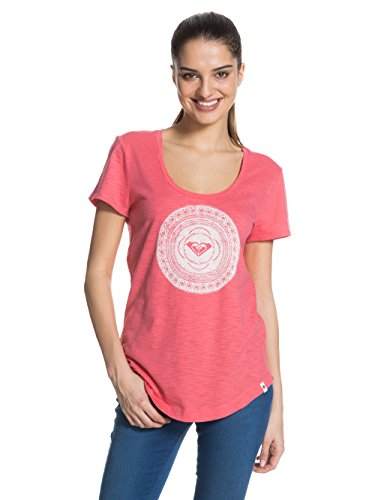 Roxy Scoopteea - T-shirt - Uni - Manches courtes - Femme - Rose (Calypso Coral) - FR: 40 (Taille fabricant: L)