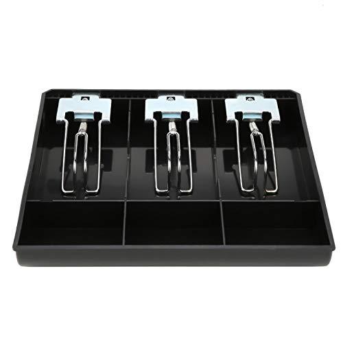 Cajón de dinero Insertar caja registradora Insertar dinero Caja de almacenamiento 3 billetes 3 monedas con clip de metal para tienda de supermercados (negro)