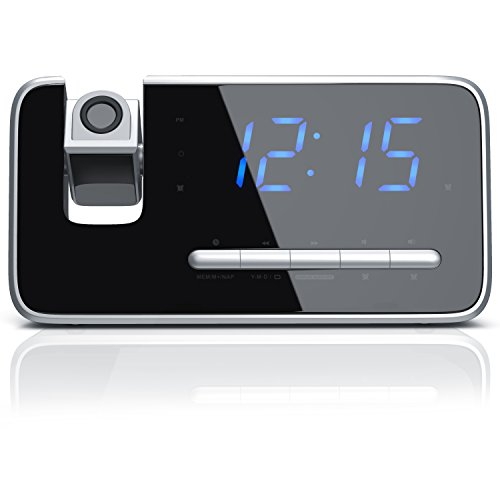 """Brandson - Radiosveglia FM / sveglia con proiezione / radiosveglia / sveglia digitale   proiezione dell'ora con flip di 180°   display a LED 4,7"""" / display adattato   dimmer Auto/OFF   nero"""