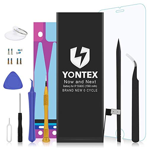 YONTEX Batería para iPhone 5S 5C Reemplazo con Kits de Herramientas de reparación,Adhesiva y Protector de Pantalla, batería de Repuesto de 1560 mAh 0 Ciclo,Garantía de 24 Meses