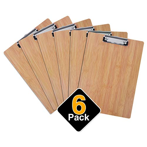 Bamboo Nursing MDF Clipboards Hardboard Pack -Emigraphiet CB001-6(2020 New Design) Low Profile Clip Standard A4 Letter Size Metal Clips Contractor Cute Clipboard School Office Supplies(Set of 6)