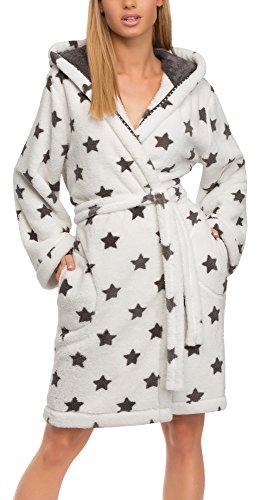 L&L Bata con Capucha Ropa de Casa Mujer LL0106 (Blanco/Onyx Estrella, M)