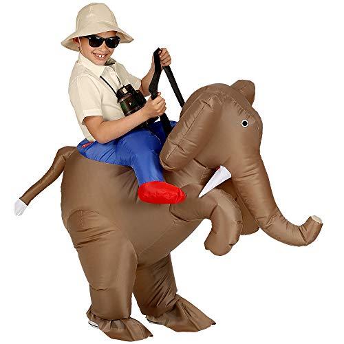 WIDMANN Srl Costume Esploratore su Elefante Gonfiabile per Bambino, Multicolore, WDM75511